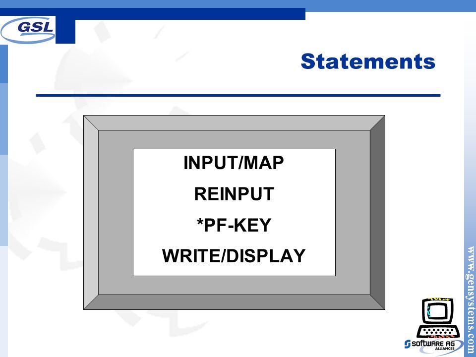 Statements INPUT/MAP REINPUT *PF-KEY WRITE/DISPLAY