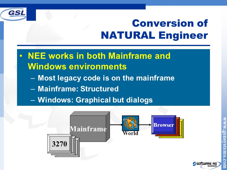 www.gensystems.com Conversion of NATURAL Engineer NEE works in both Mainframe and Windows environments –Most legacy code is on the mainframe –Mainframe: Structured –Windows: Graphical but dialogs Mainframe 3270 World Browser