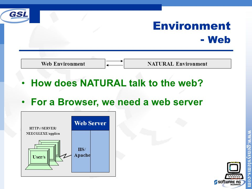 www.gensystems.com Environment - Web Web EnvironmentNATURAL Environment How does NATURAL talk to the web.