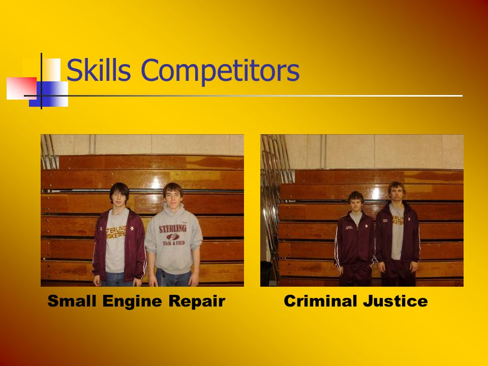 Skills Competitors Small Engine RepairCriminal Justice