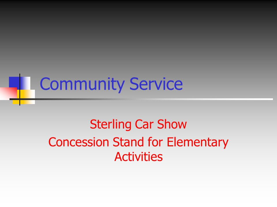 Community Service Sterling Car Show Concession Stand for Elementary Activities