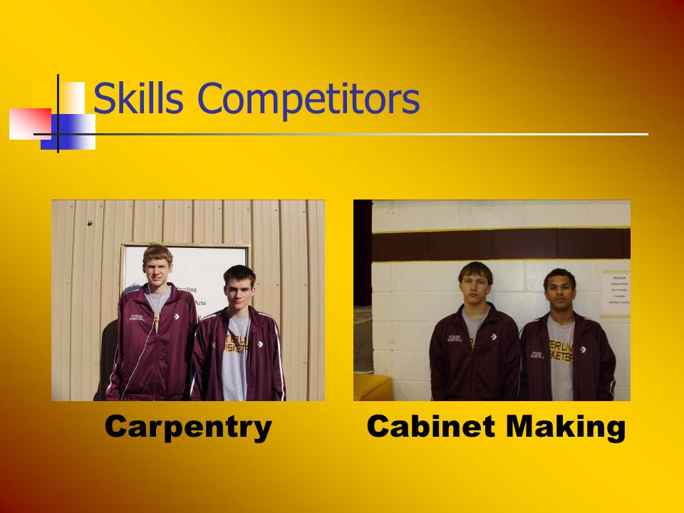 Skills Competitors CarpentryCabinet Making