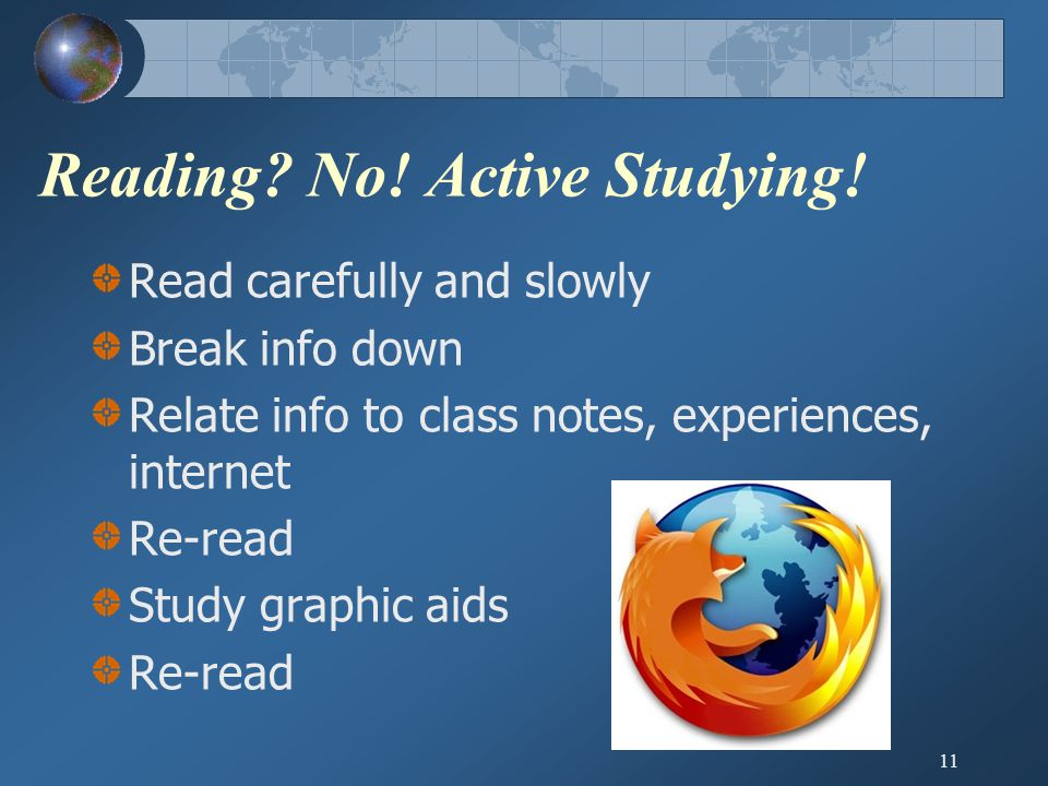 11 Reading. No. Active Studying.