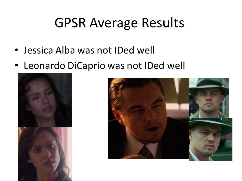 GPSR Average Results Jessica Alba was not IDed well Leonardo DiCaprio was not IDed well