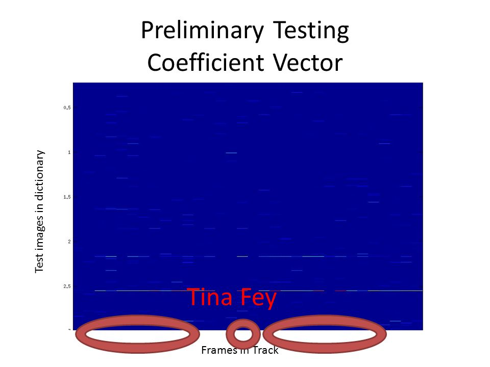 Preliminary Testing Coefficient Vector Test images in dictionary Frames in Track Tina Fey