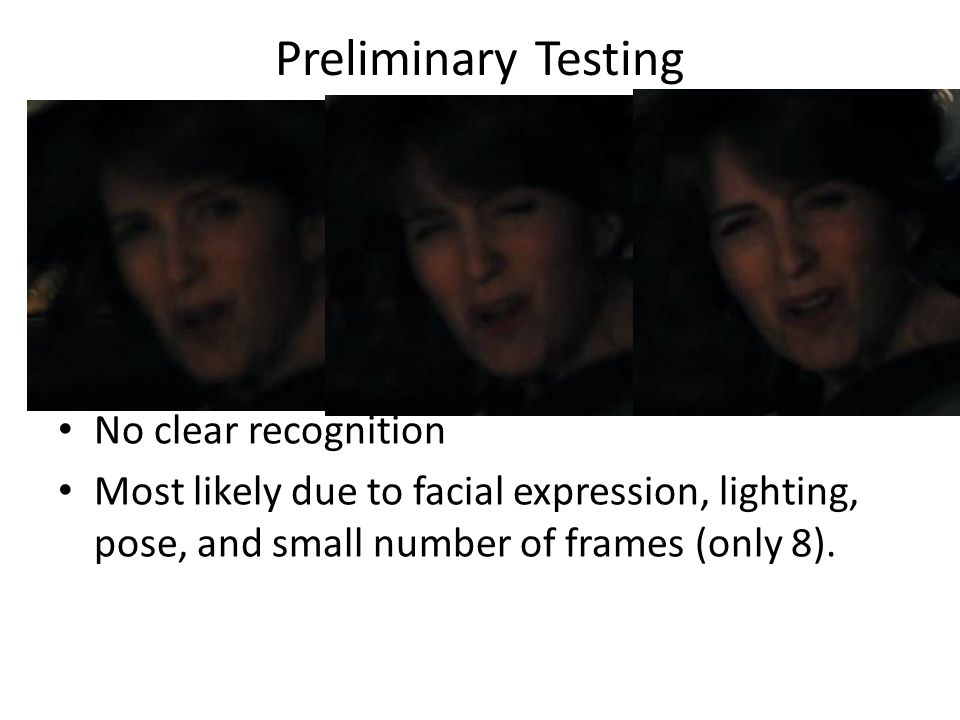 Preliminary Testing Coefficient Vector No clear recognition Most likely due to facial expression, lighting, pose, and small number of frames (only 8).