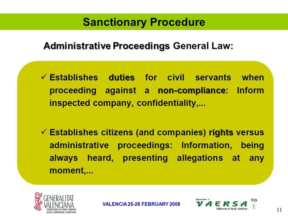 11 VALENCIA 25-28 FEBRUARY 2008 Sanctionary Procedure duties non-compliance Establishes duties for civil servants when proceeding against a non-compliance: Inform inspected company, confidentiality,...