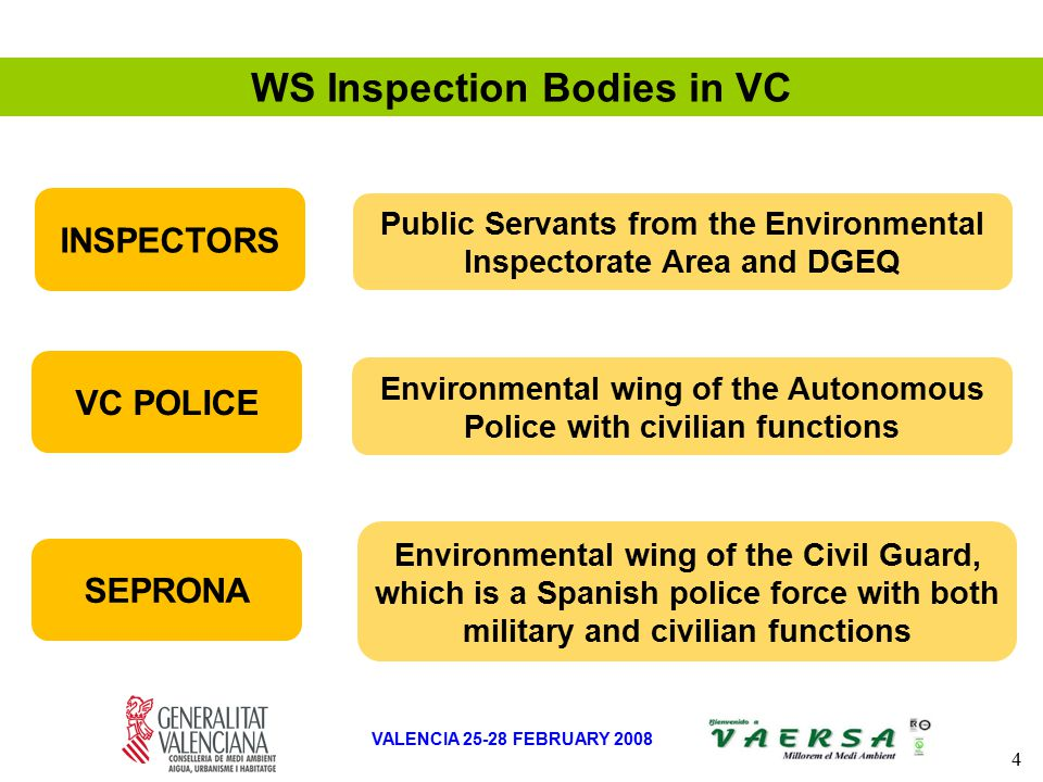 4 VALENCIA 25-28 FEBRUARY 2008 SEPRONA Environmental wing of the Civil Guard, which is a Spanish police force with both military and civilian functions VC POLICE Environmental wing of the Autonomous Police with civilian functions INSPECTORS Public Servants from the Environmental Inspectorate Area and DGEQ WS Inspection Bodies in VC