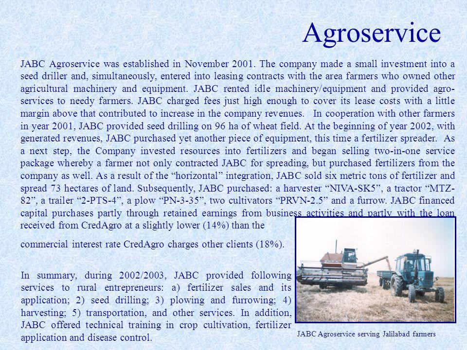Agroservice JABC Agroservice serving Jalilabad farmers JABC Agroservice was established in November 2001.