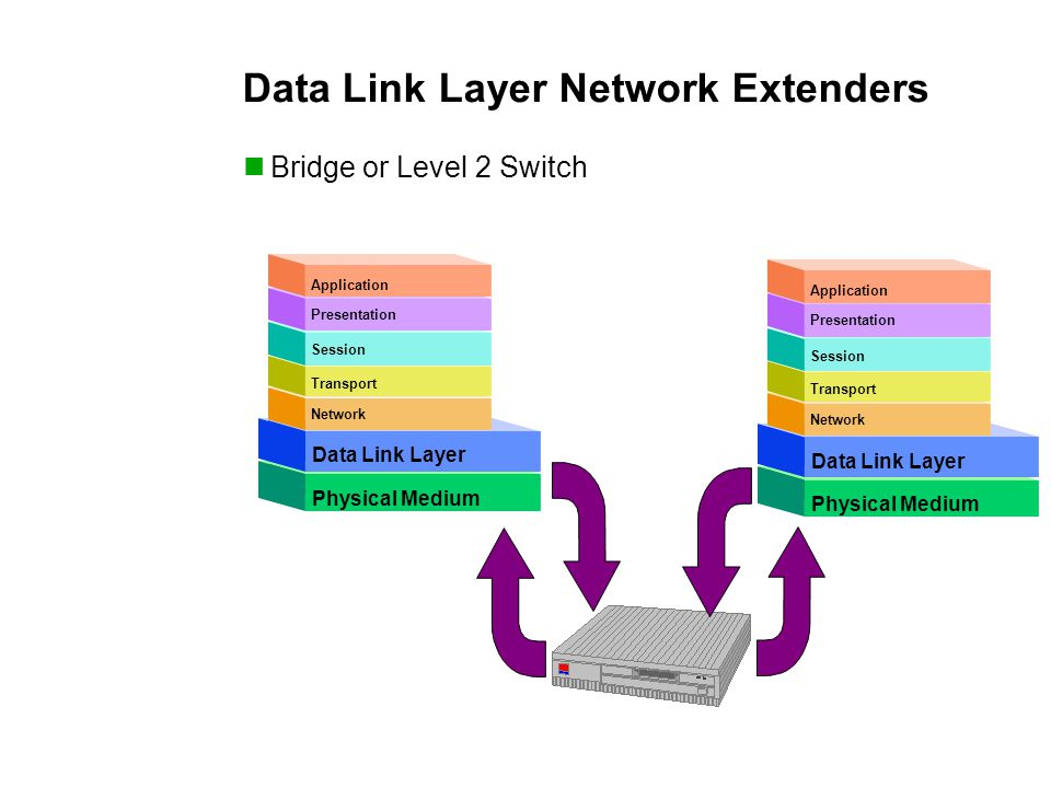 Physical Medium Network Transport Session Presentation Application Datalink Layer Physical Medium Data Link Layer Physical Medium Network Transport Session Presentation Application Datalink Layer Physical Medium Data Link Layer Data Link Layer Network Extenders Bridge or Level 2 Switch