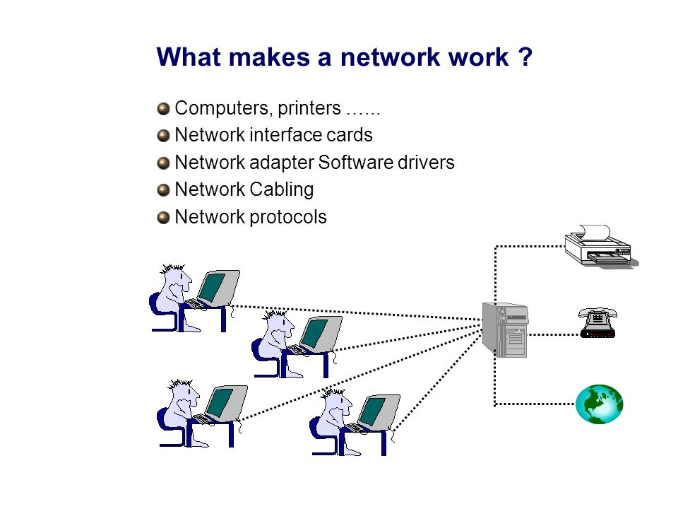 What makes a network work . Computers, printers …...