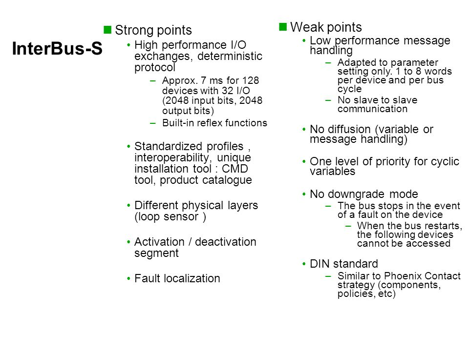 InterBus-S Strong points High performance I/O exchanges, deterministic protocol –Approx.