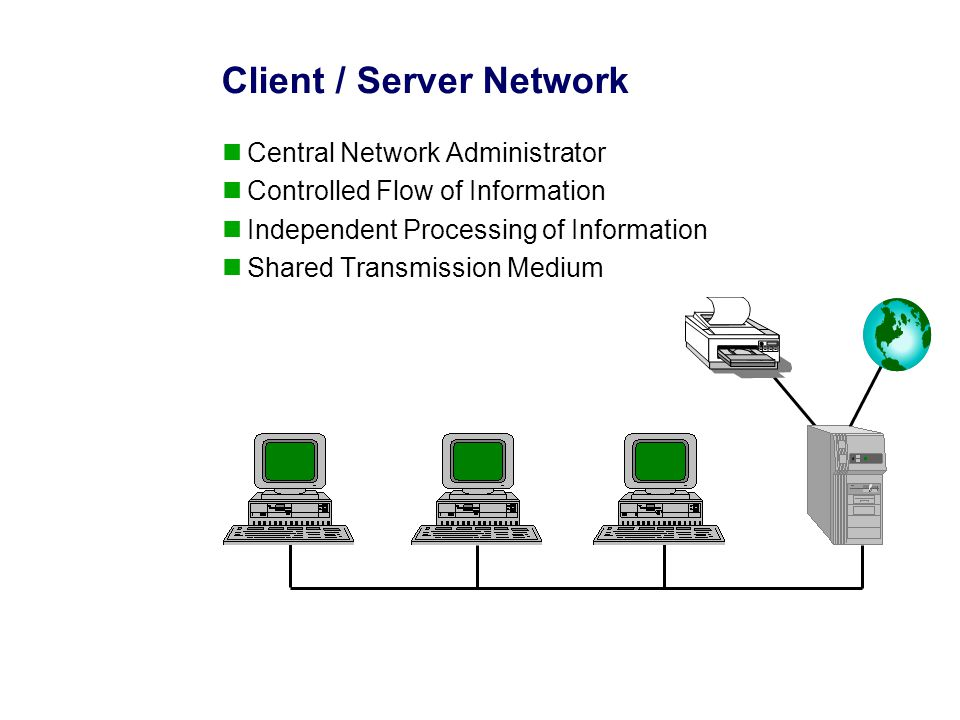 Client / Server Network Central Network Administrator Controlled Flow of Information Independent Processing of Information Shared Transmission Medium