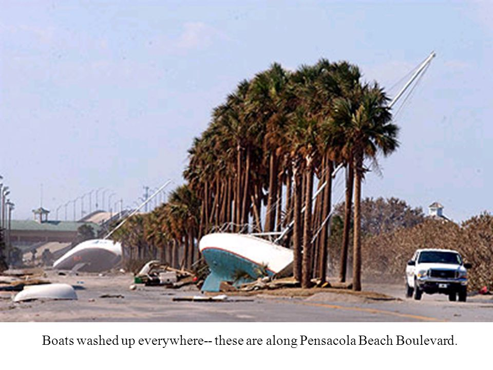 Boats washed up everywhere-- these are along Pensacola Beach Boulevard.