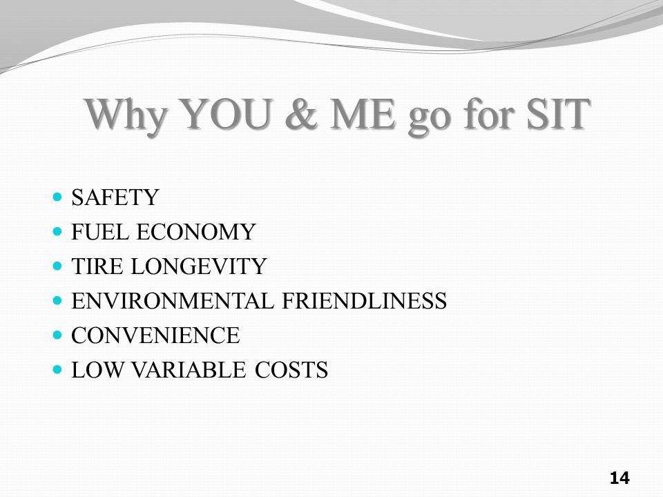 Why YOU & ME go for SIT Why YOU & ME go for SIT SAFETY FUEL ECONOMY TIRE LONGEVITY ENVIRONMENTAL FRIENDLINESS CONVENIENCE LOW VARIABLE COSTS 14
