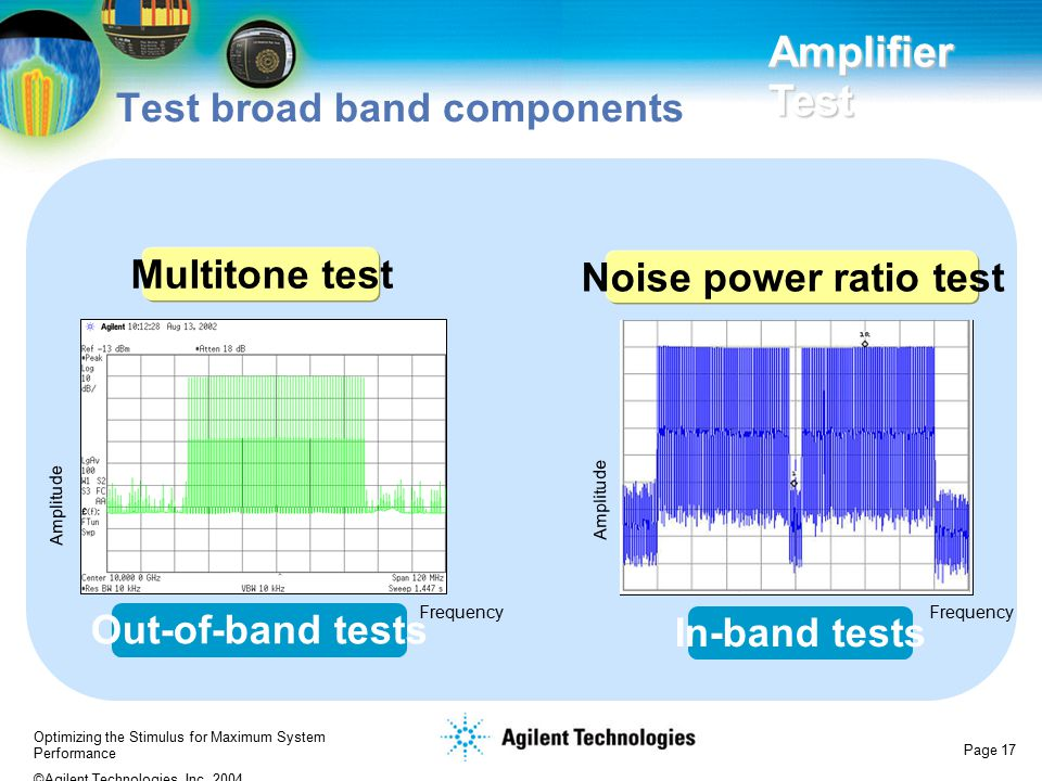 Optimizing the Stimulus for Maximum System Performance ©Agilent Technologies, Inc. 2004 Page 17 Test broad band components Amplifier Test Out-of-band