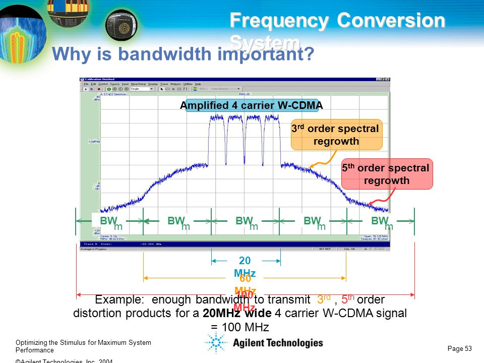 Optimizing the Stimulus for Maximum System Performance ©Agilent Technologies, Inc. 2004 Page 53 Why is bandwidth important? Frequency Conversion Syste