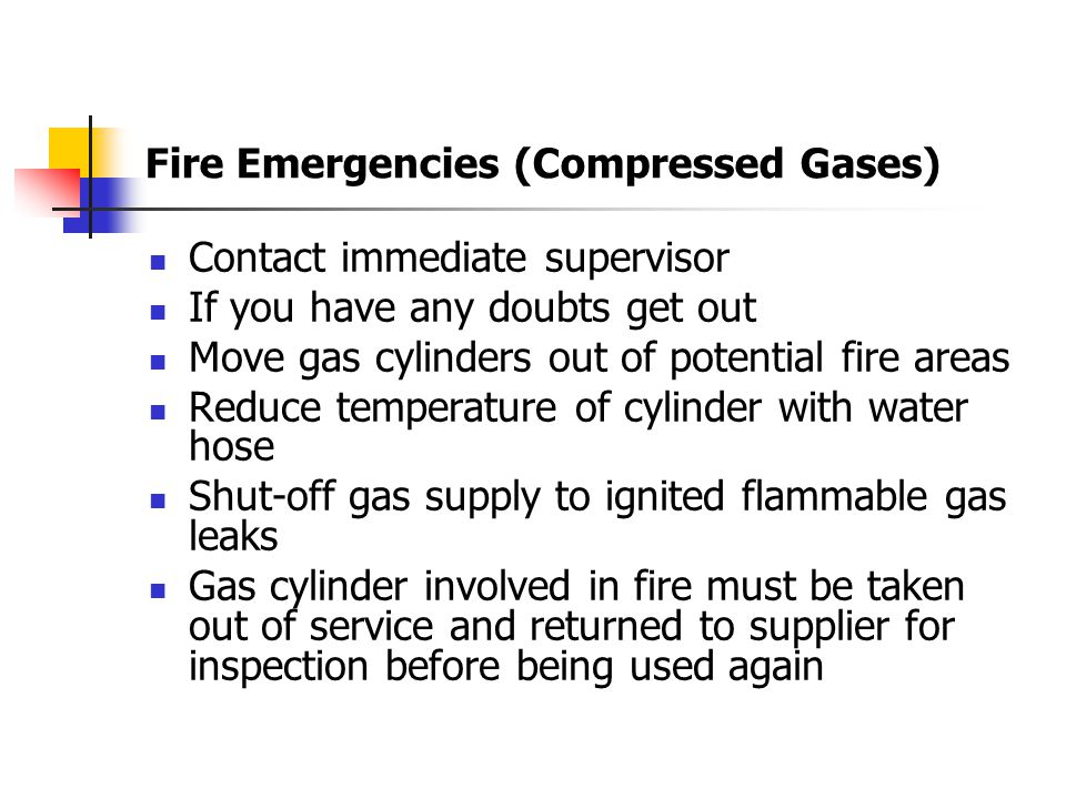 Compressed Gases Cont'd When Moving Always use a hand cart Get help moving if necessary When Transporting use cap valve Do not drag or roll cylinder