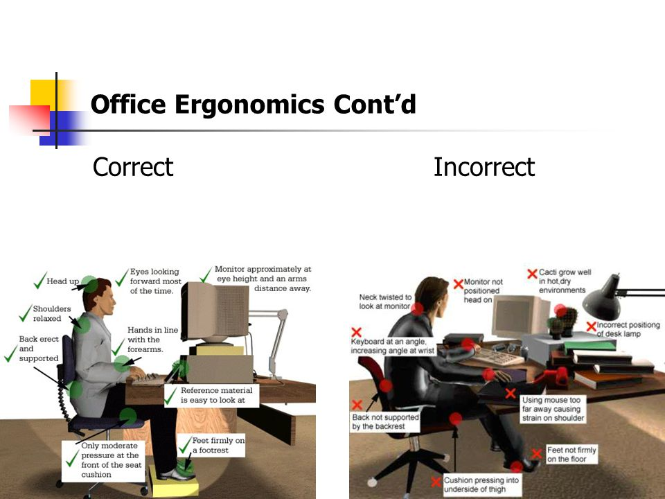 Office Ergonomics Office Ergonomics include such items as: Your Chair Your Keyboard Monitor, Document & Telephone