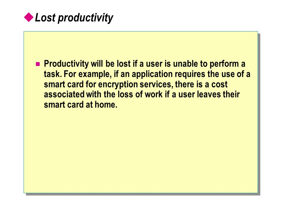  Lost productivity Productivity will be lost if a user is unable to perform a task.