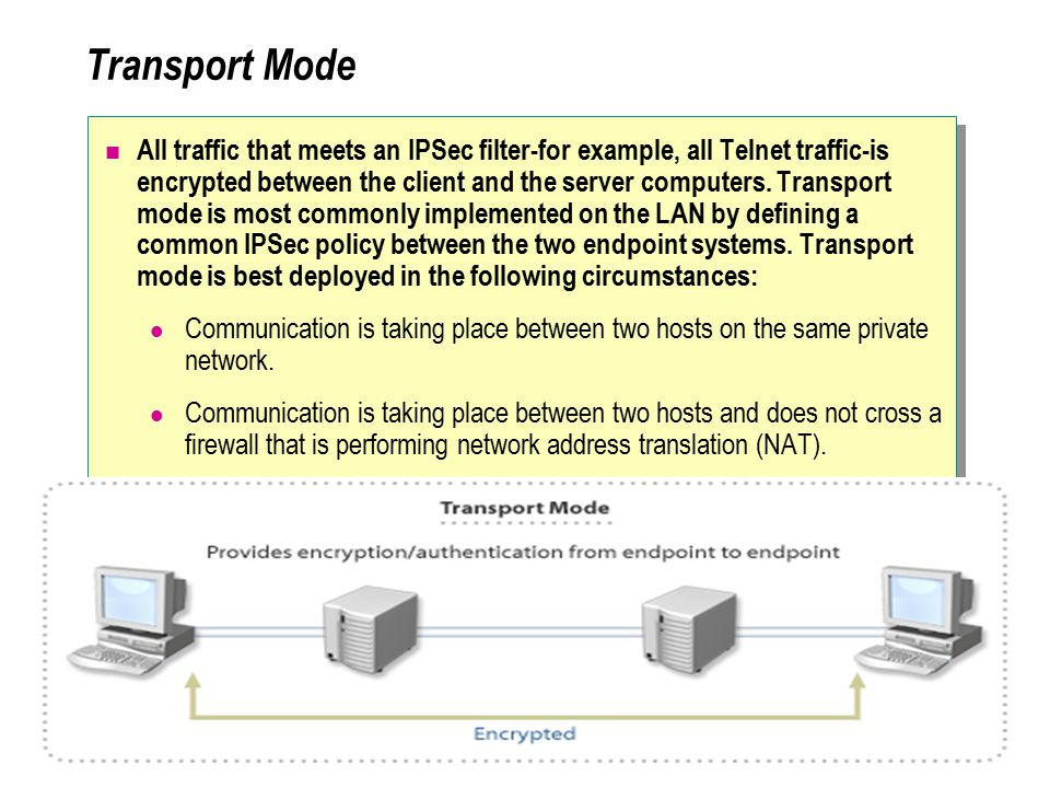 Transport Mode All traffic that meets an IPSec filter-for example, all Telnet traffic-is encrypted between the client and the server computers.