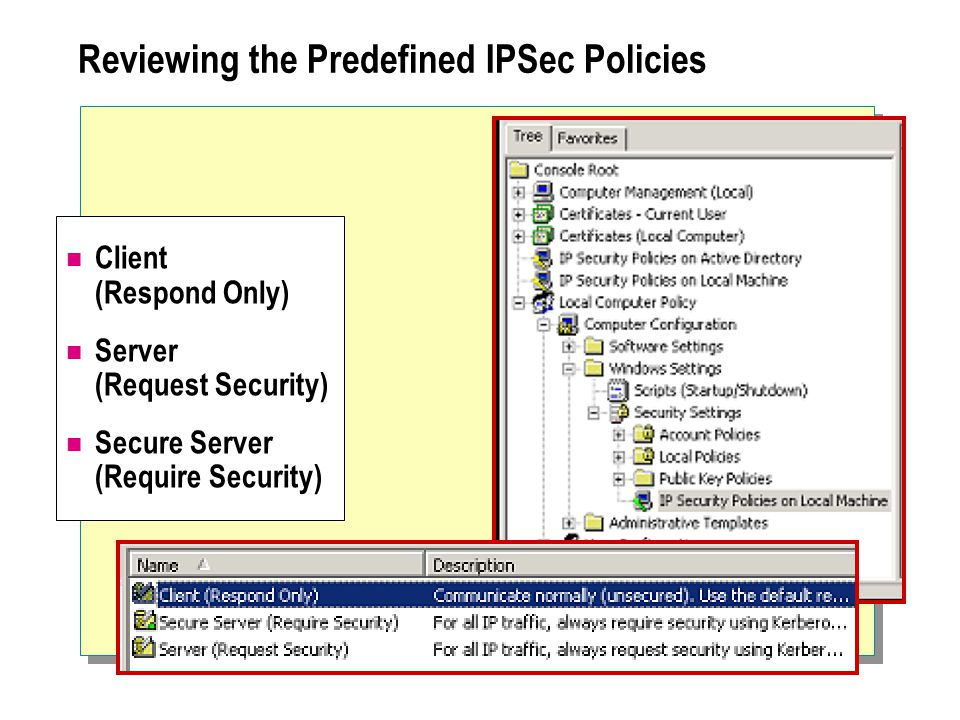 Reviewing the Predefined IPSec Policies Client (Respond Only) Server (Request Security) Secure Server (Require Security)