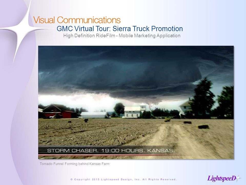 GMC Virtual Tour: Sierra Truck Promotion High Definition RideFilm - Mobile Marketing Application Tornado Funnel Forming behind Kansas Farm