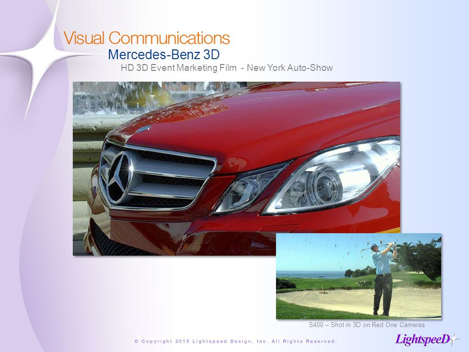 Mercedes-Benz 3D HD 3D Event Marketing Film - New York Auto-Show S400 – Shot in 3D on Red One Cameras