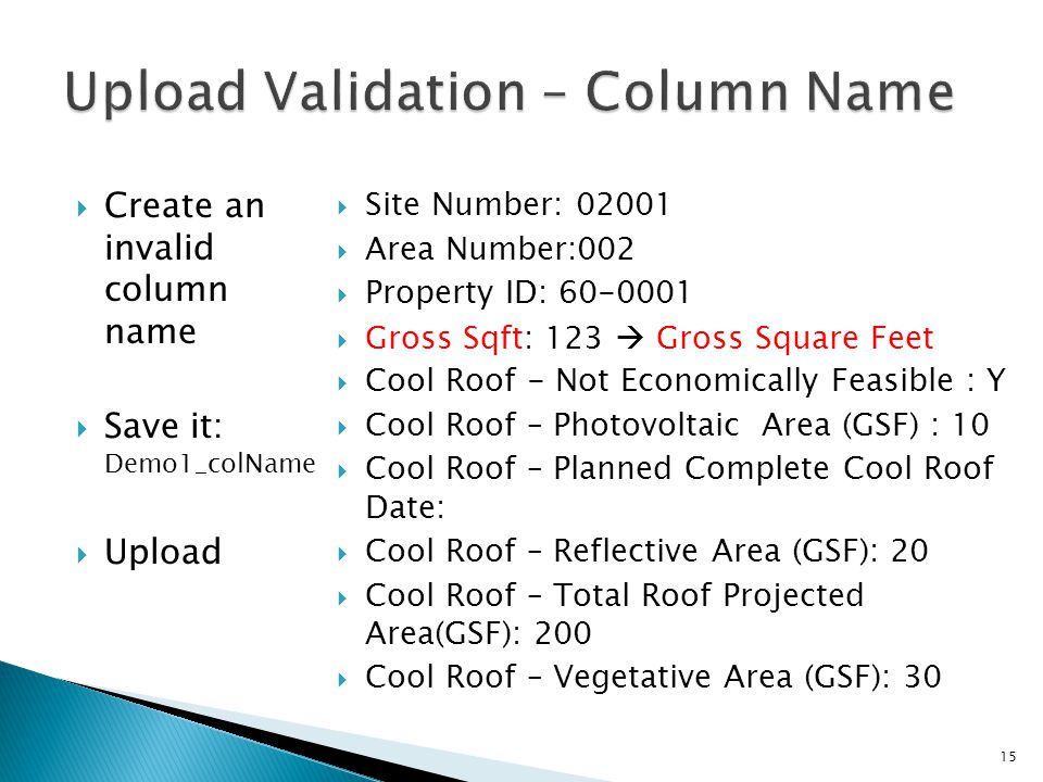  Create an invalid column name  Save it: Demo1_colName  Upload  Site Number: 02001  Area Number:002  Property ID: 60-0001  Gross Sqft: 123  Gr