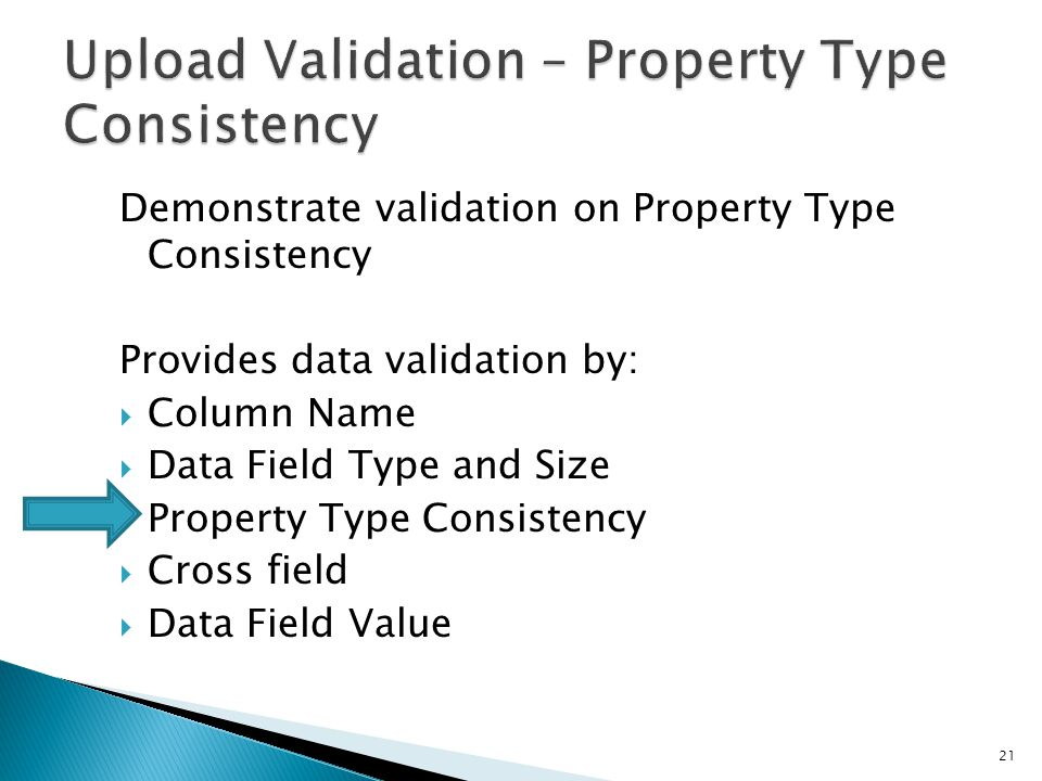 Demonstrate validation on Property Type Consistency Provides data validation by:  Column Name  Data Field Type and Size  Property Type Consistency  Cross field  Data Field Value 21