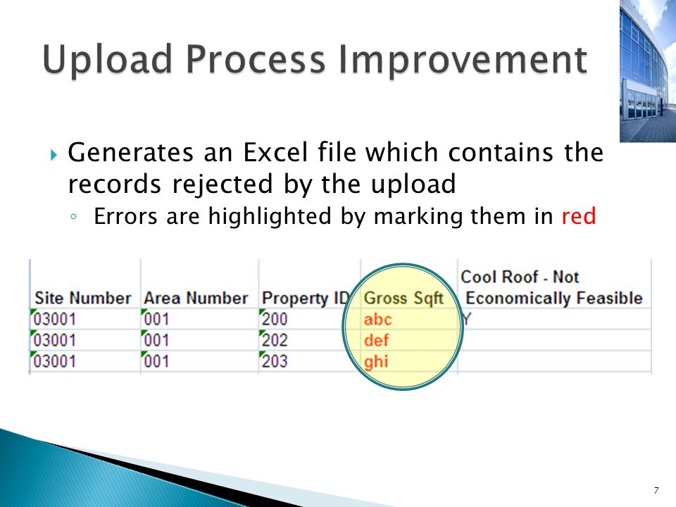  Generates an Excel file which contains the records rejected by the upload ◦ Errors are highlighted by marking them in red 7