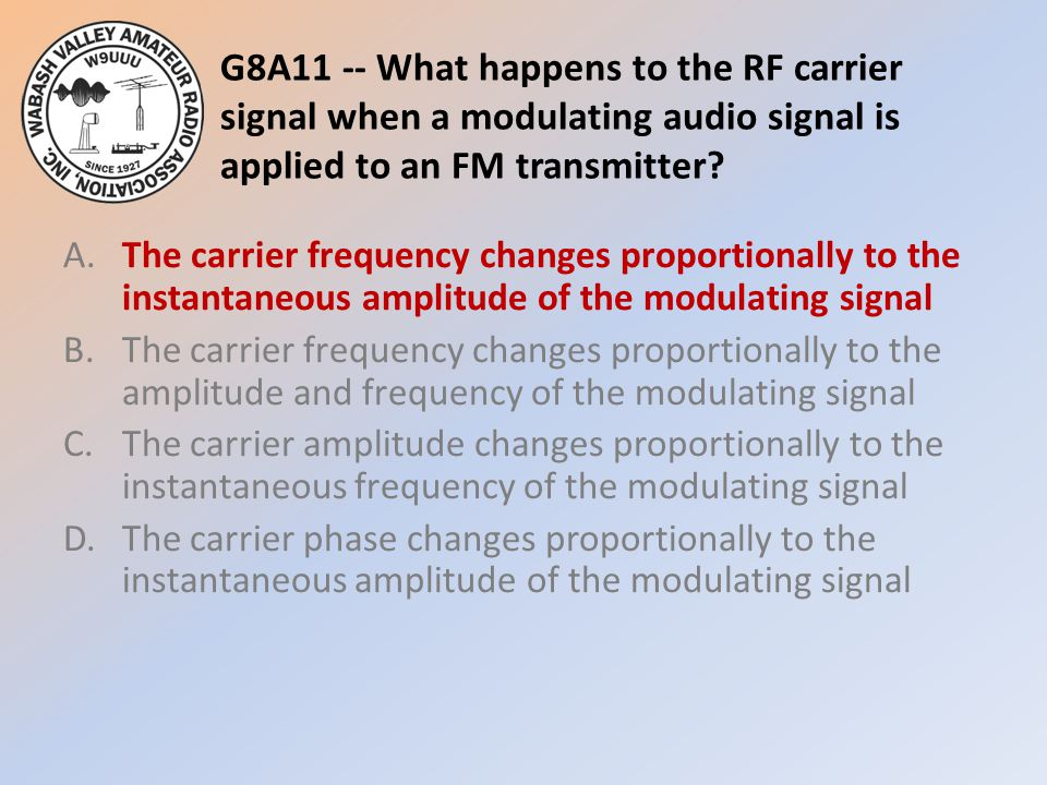 G8A11 -- What happens to the RF carrier signal when a modulating audio signal is applied to an FM transmitter.