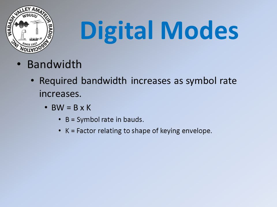Bandwidth Required bandwidth increases as symbol rate increases.