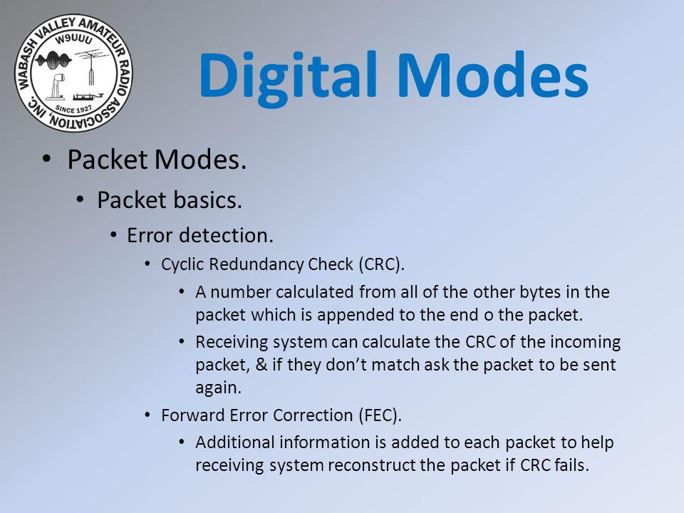 Packet Modes. Packet basics. Error detection. Cyclic Redundancy Check (CRC).