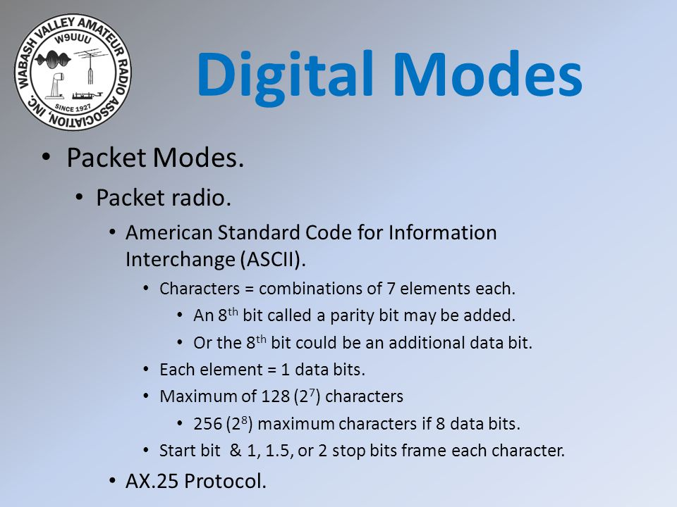 Packet Modes. Packet radio. American Standard Code for Information Interchange (ASCII).