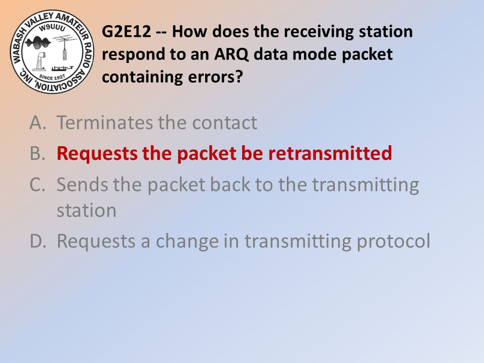 G2E12 -- How does the receiving station respond to an ARQ data mode packet containing errors.