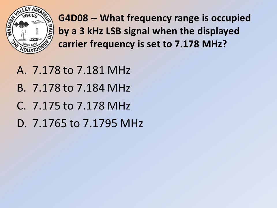 G4D08 -- What frequency range is occupied by a 3 kHz LSB signal when the displayed carrier frequency is set to 7.178 MHz.