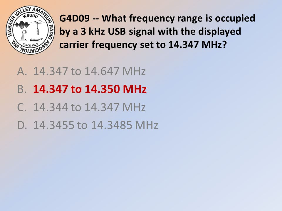 G4D09 -- What frequency range is occupied by a 3 kHz USB signal with the displayed carrier frequency set to 14.347 MHz.