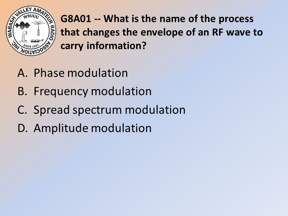G8A01 -- What is the name of the process that changes the envelope of an RF wave to carry information.