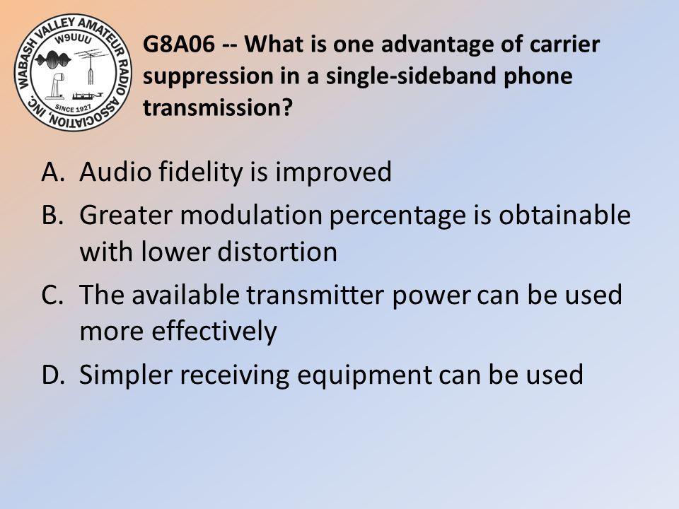 G8A06 -- What is one advantage of carrier suppression in a single-sideband phone transmission.