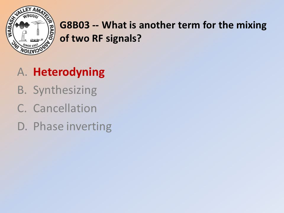 G8B03 -- What is another term for the mixing of two RF signals.