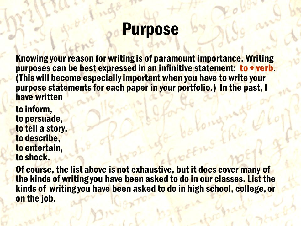 Purpose Knowing your reason for writing is of paramount importance.