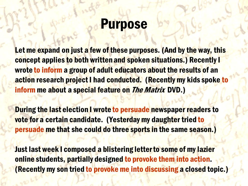 Purpose Let me expand on just a few of these purposes.