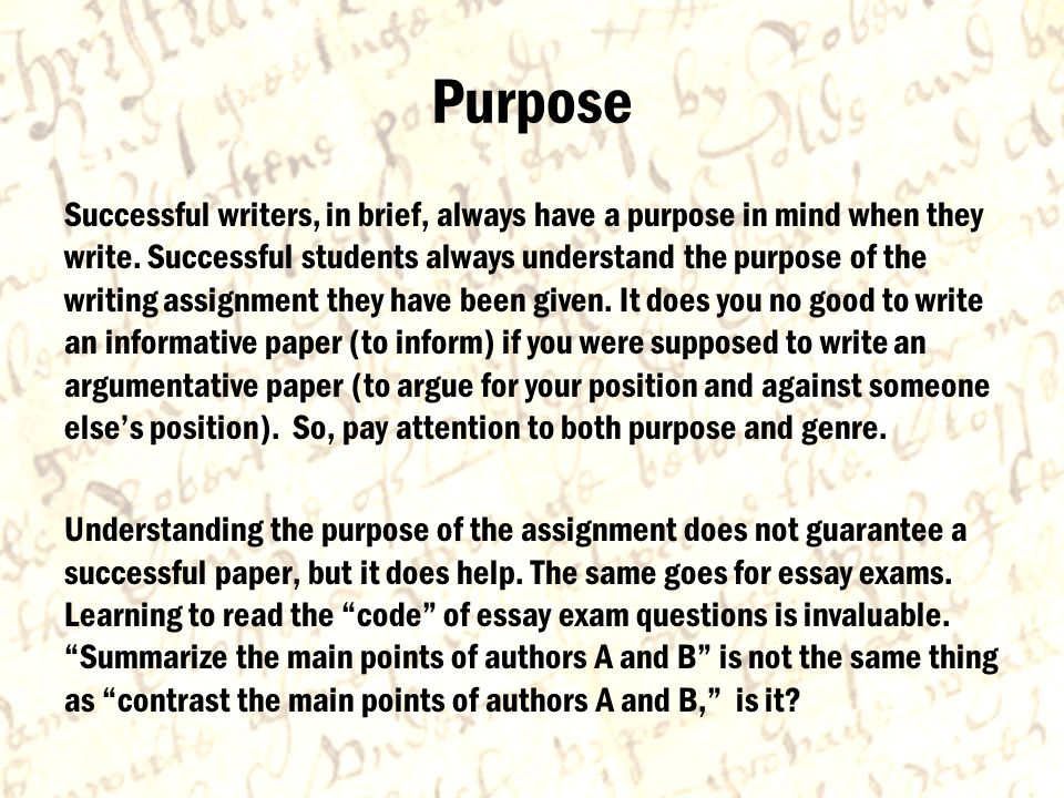 Purpose Successful writers, in brief, always have a purpose in mind when they write.