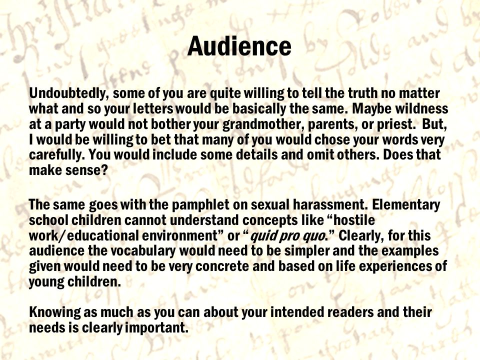 Audience Undoubtedly, some of you are quite willing to tell the truth no matter what and so your letters would be basically the same.