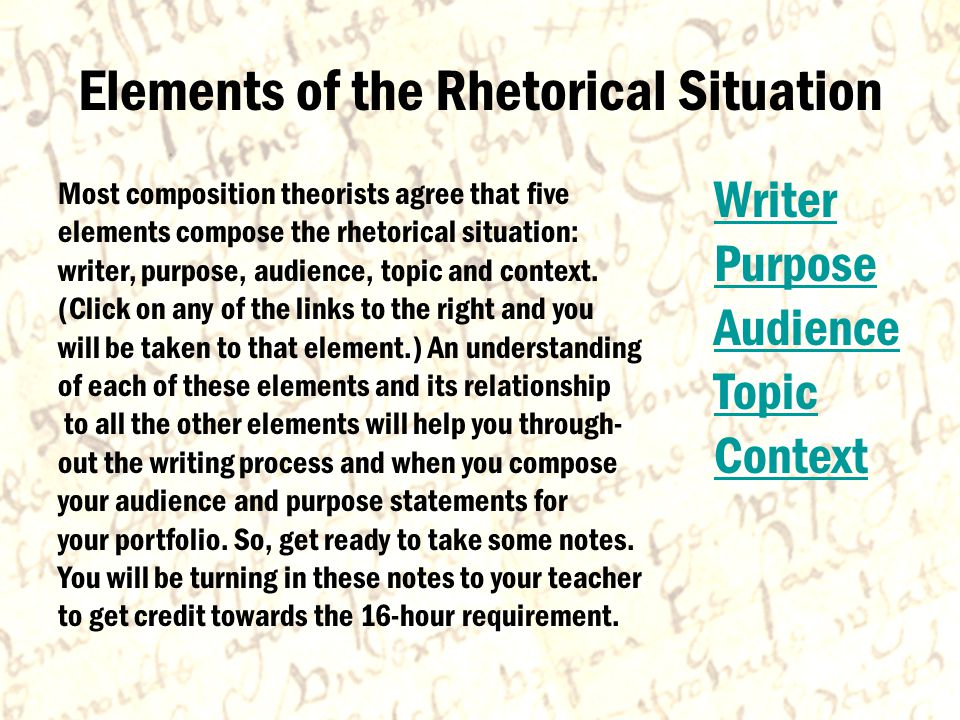 The Writer The writer has the most important role in the rhetorical situation because the writer ultimately decides what goes into his or her paper—unless of course an editor makes those decisions.
