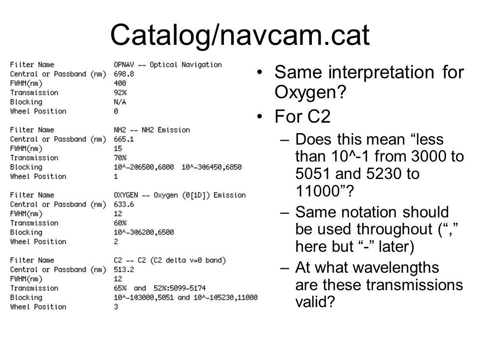 Catalog/navcam.cat Same interpretation for Oxygen.