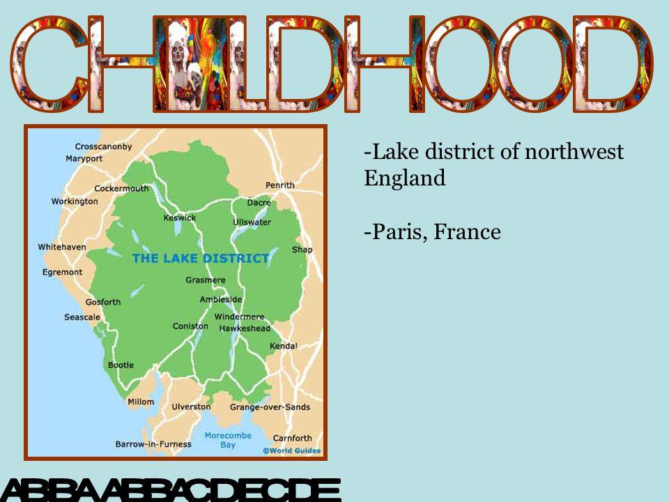 -Lake district of northwest England -Paris, France