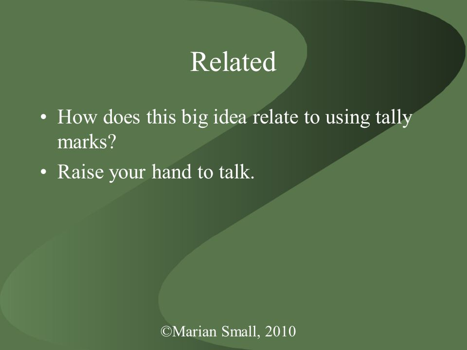 Related How does this big idea relate to using tally marks? Raise your hand to talk.