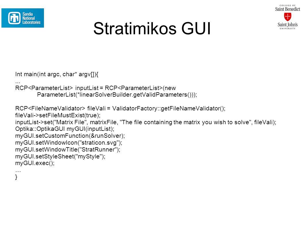 Stratimikos GUI Int main(int argc, char* argv[]){...